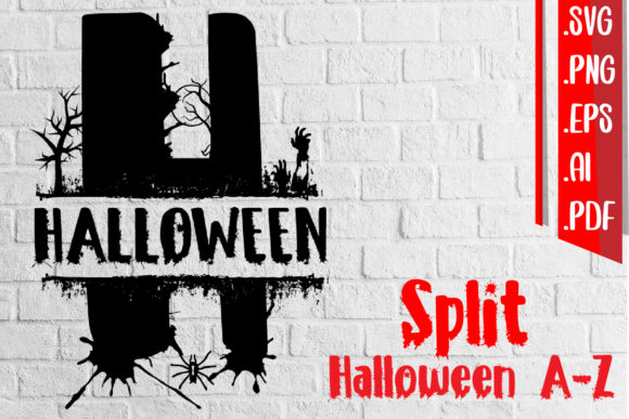 Split Halloween a-Z Svg Eps Ai Png Graphic Crafts By assalwaassalwa