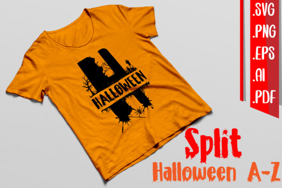 Split Halloween a-Z Svg Eps Ai Png Graphic Download