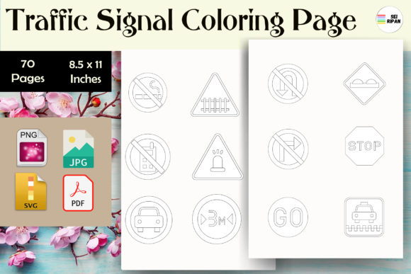 Print on Demand: Traffic Signal Coloring Page - KDP Graphic Coloring Pages & Books Kids By Sei Ripan