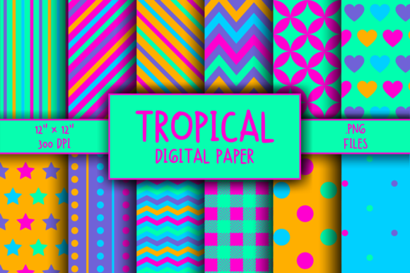Print on Demand: Tropical Pattern Digital Paper Graphic Patterns By atlasart