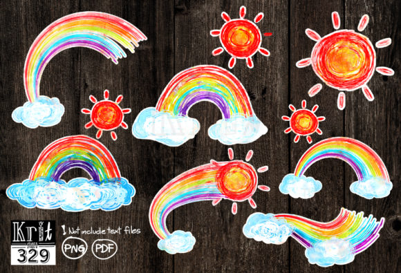 Watercolor Rainbow PNG Clip Art Graphic Print Templates By Krit-Studio329