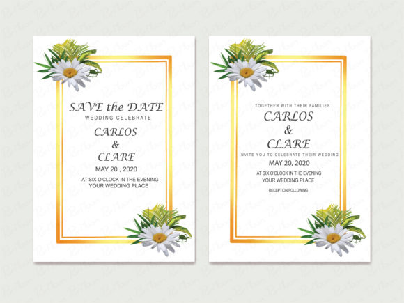 Wedding Card Flowers Graphic Illustrations By PurMoon