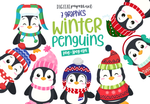 Print on Demand: Winter Penguins Grafik Illustrations von DigitalPapers