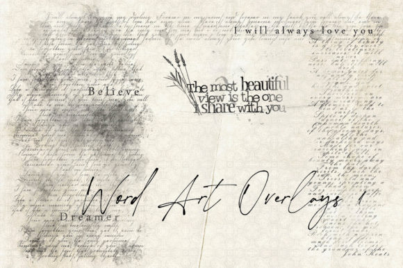 Print on Demand: Word Art Overlays Set 1 Graphic Illustrations By LilBitDistressed