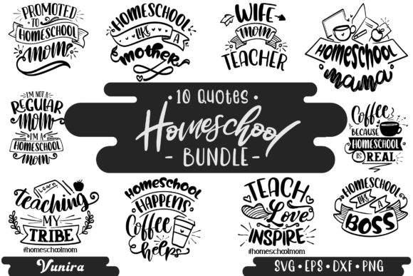Print on Demand: 10 Homeshool Bundle | Lettering Quotes Graphic Crafts By Vunira