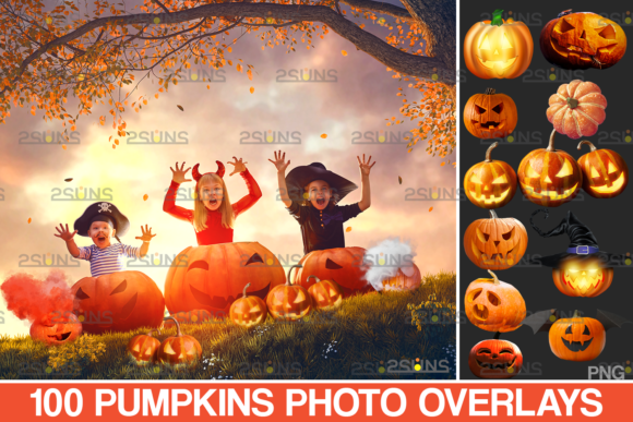 100 Halloween Overlay Halloween Pumpkins Graphic Actions & Presets By 2SUNS