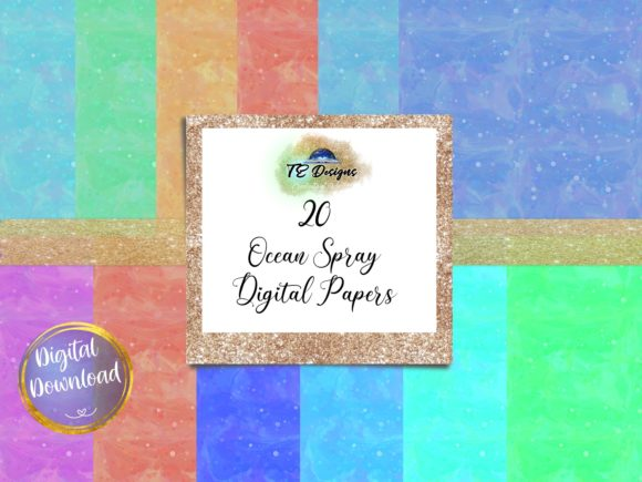 Print on Demand: Abstract Ocean Spray Digital Papers Graphic Backgrounds By TE Designs