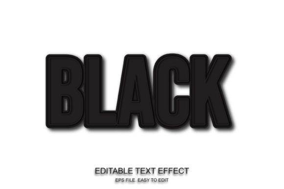 Black Color Text Effect Graphic Layer Styles By ve.art09