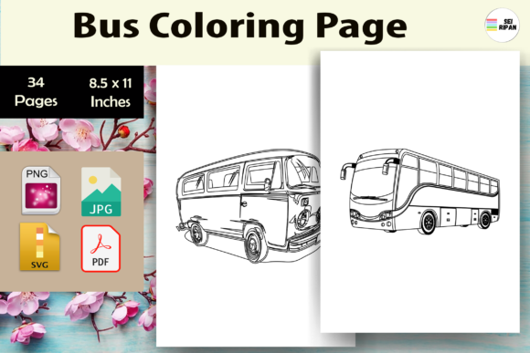 Print on Demand: Bus Coloring Page for Kids-KDP Graphic Coloring Pages & Books Kids By Sei Ripan