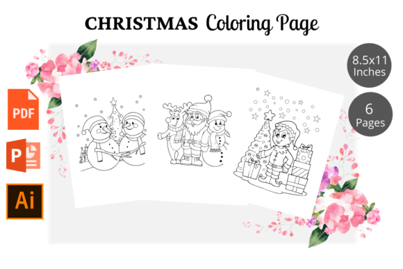 Christmas Coloring Page for Kids KDP Graphic