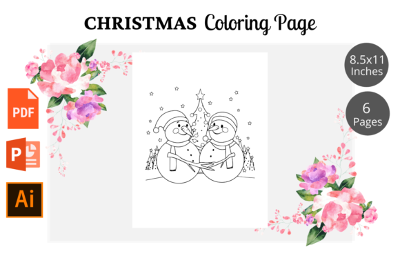 Christmas Coloring Page for Kids KDP Graphic Download