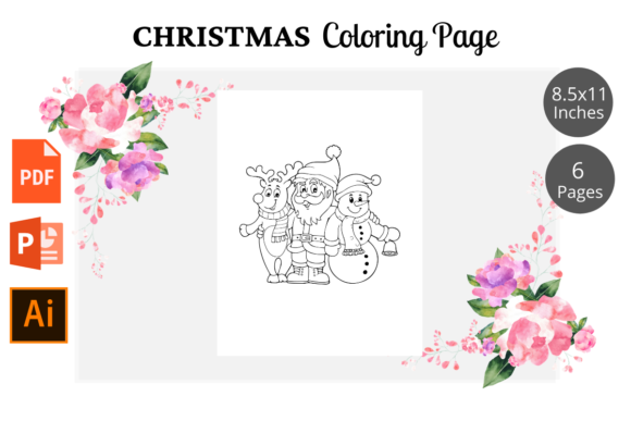 Christmas Coloring Page for Kids KDP Graphic Item
