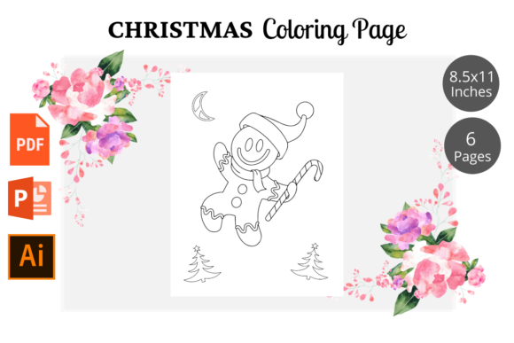 Christmas Coloring Page for Kids KDP Graphic Preview