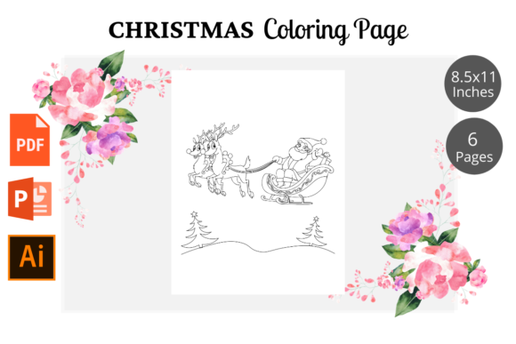 Christmas Coloring Page for Kids KDP Graphic Image