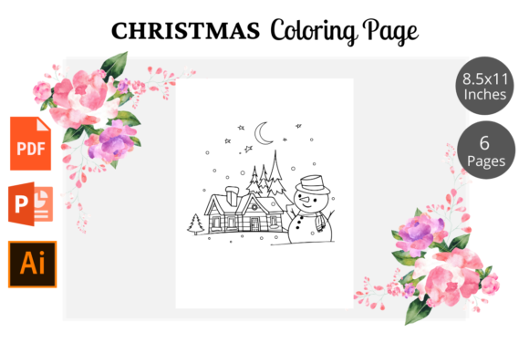 Christmas Coloring Page for Kids KDP Graphic Design Item