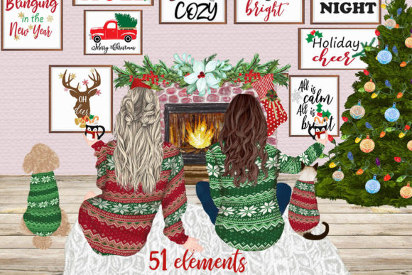 Christmas Girls Clipart Mug Design Graphic Illustrations By LeCoqDesign