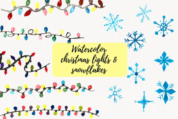 Christmas Lights Clipart, Snowflakes Graphic Illustrations By Aneta Design