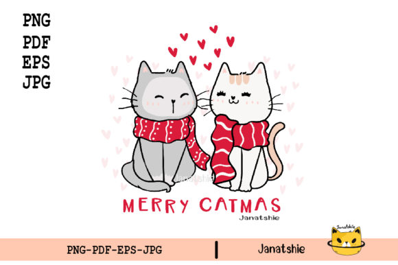 Christmas Cat Couple Lover Cat Clipart Graphic Illustrations By Janatshie
