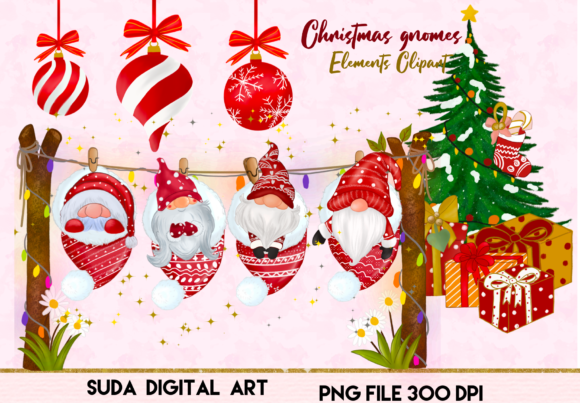 Print on Demand: Christmas Cute Gnomes Clipart Gráfico Ilustraciones Por Suda Digital Art