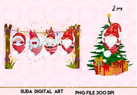Christmas Cute Gnomes Clipart Graphic Download