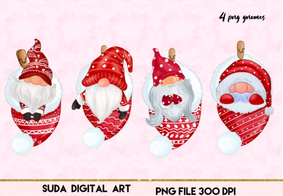 Christmas Cute Gnomes Clipart Graphic Item