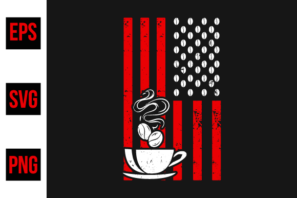 Print on Demand: Coffee American Flag Vector Graphic. Graphic Print Templates By ajgortee