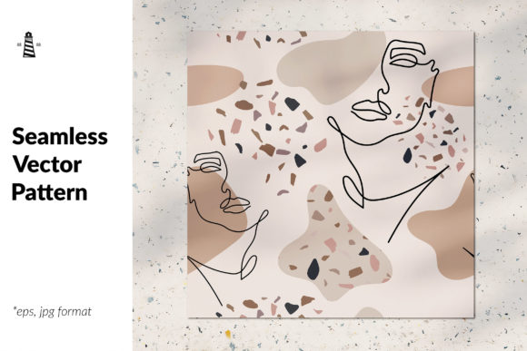 Print on Demand: Composition with Line Portrait Graphic Patterns By northseastudio