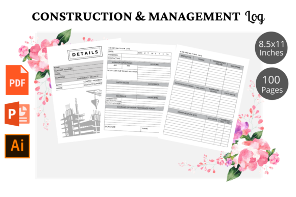 Print on Demand: Constraction & Management Logbook KDP Graphic KDP Interiors By KDPWarrior