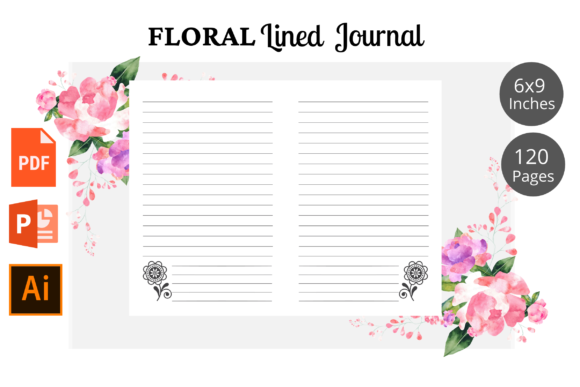 Print on Demand: Floral Lined Journal Pages KDP Interior Graphic KDP Interiors By KDPWarrior