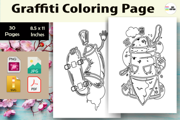Print on Demand: Graffiti Coloring Page-KDP Graphic Coloring Pages & Books Adults By Sei Ripan