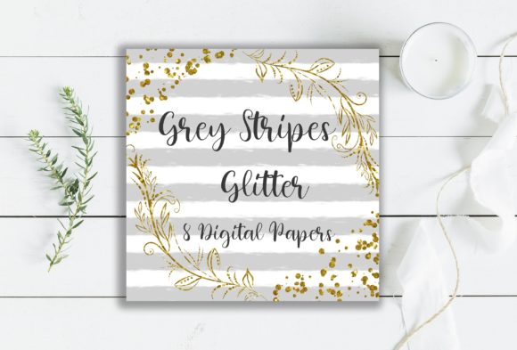 Grey Stripes Glitter Digital Papers Graphic Backgrounds By PinkPearly