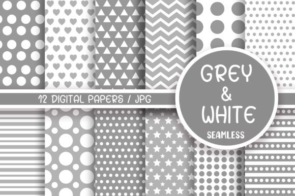 Grey and White Seamless Pattern Graphic Patterns By PinkPearly