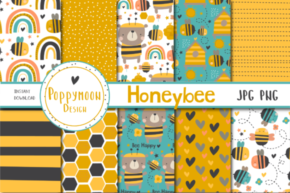 Print on Demand: HoneyBee Paper Set Graphic Patterns By poppymoondesign