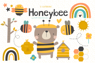 Print on Demand: HoneyBee Clipart Set Graphic Illustrations By poppymoondesign