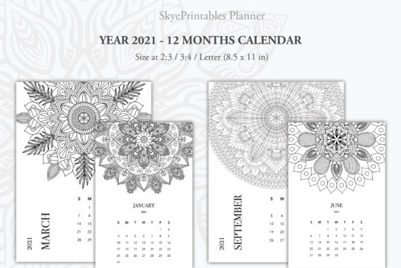 Print on Demand: Mandala Monthly Calendar Printable 2021 Graphic KDP Interiors By AlyviaSkye