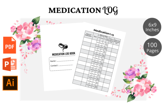 Print on Demand: Medication Log Book KDP Interior Graphic KDP Interiors By KDPWarrior