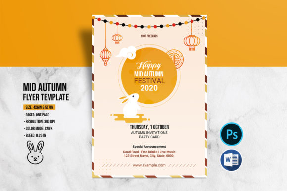 Print on Demand: Mid Autumn Flyer Template Graphic Print Templates By sistecbd