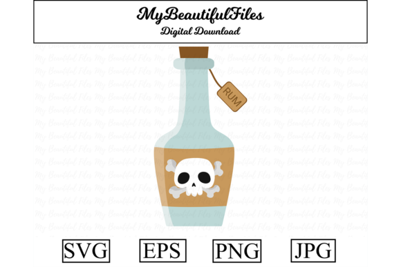 Print on Demand: Pirates Rum Bottle Clipart Graphic Illustrations By MyBeautifulFiles