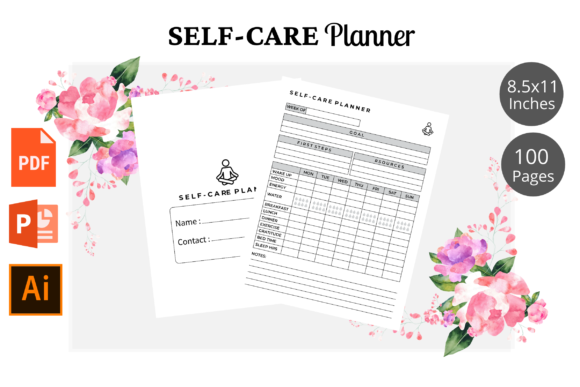 Print on Demand: Self-Care Planner Logbook  KDP Interior Graphic KDP Interiors By KDPWarrior