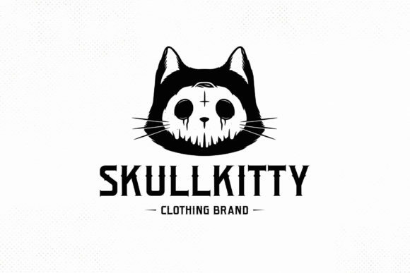 Skull Cat Halloween Logo Template Graphic Logos By vectorwithin