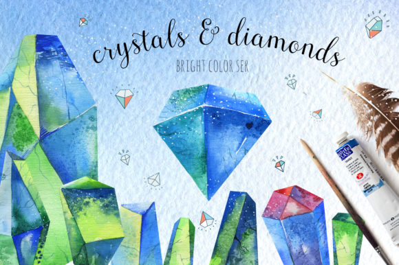 Watercolor Crystals Graphic Illustrations By kristinakvilis
