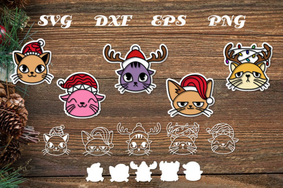 Print on Demand: Cute Christmas Cat Head  File Cut Graphic Print Templates By dadan_pm