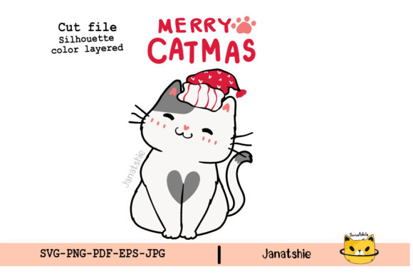 Cute Merry Christmas Cat Clipart Svg Graphic Illustrations By Janatshie
