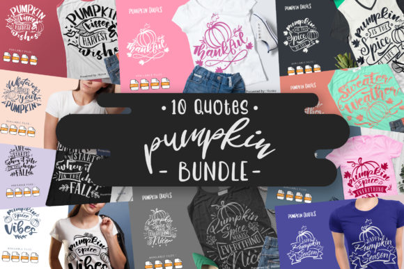 Print on Demand: 10 Pumpkin Bundle | Lettering Quotes Graphic Crafts By Vunira