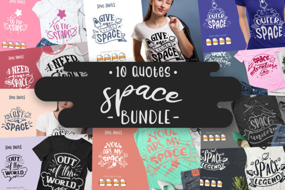 Print on Demand: 10 Space Bundle | Lettering Quotes Graphic Crafts By Vunira