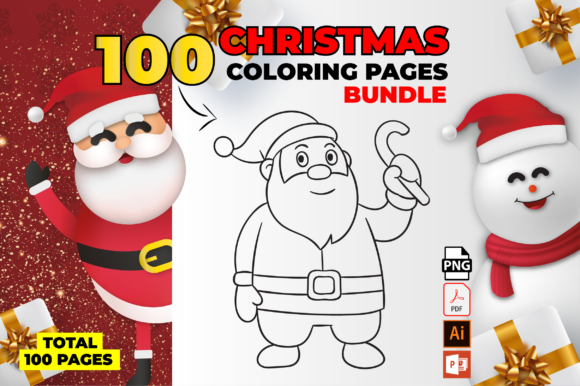 Print on Demand: 100 Christmas Coloring Page Bundle Gráfico Libros para colorear - Niños Por MK DESIGN