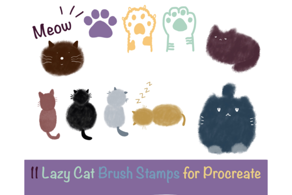 11 Cat Brush Stamps for Procreate Graphic Brushes By Temtemdesign
