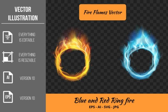 2 Ring of Fire Flames Vector Graphic Illustrations By Ka Design