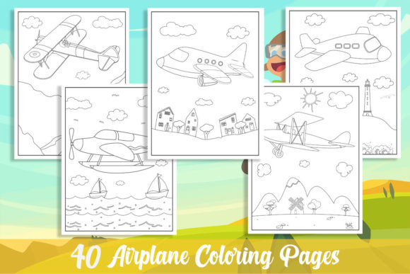 40 Airplane Coloring Pages for Kids Graphic Coloring Pages & Books Kids By KING ROX