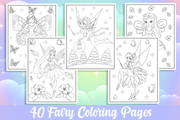 40 Fairy Coloring Pages for Girls Graphic Coloring Pages & Books Kids By KING ROX